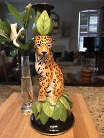 Lynn Chase Jaguar Jungle Candle Holder Signed by Lynn Chaser