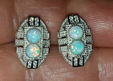 GORGEOUS 925 STERLING SILVER OPAL & CRYSTAL ART DECO COCKTAIL STUD EARRINGS