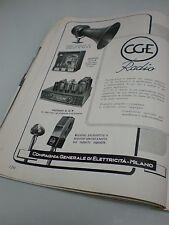 CGE Radio Tromba amplificatore Pubblicità d'epoca Originale del 1946 Magazine AD