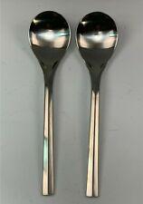 New listing 2 Dansk Satin 18/10 Stainless Steel Parallel Diamond Pattern Lg. Serving Spoons