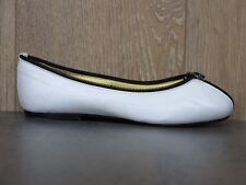 NEW FRENCH SOLE UK 2.5-3/36 White Black All Leather Ballerinas Ballet Flats Zip