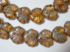 10 beads - Amber Travertine Czech Glass Maple Leaf Beads 11x12mm
