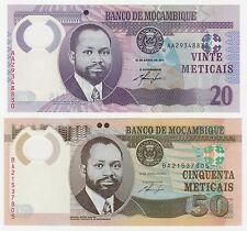 Mozambique 20 y 50 meticales 2011 P-149 P-150 conjunto de billetes de polímero UNC - 2 piezas