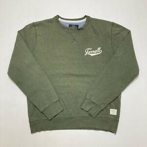 Farrell Mens Sweatshirt Khaki Crew Neck Embroidered Pullover Jumper Size L