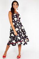 VOODOO VIXEN DRA8686 Daisy Hearts Flared Dress UK 8-16 Vintage