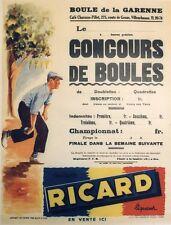 """""""CONCOURS DE BOULES RICARD"""" Affiche originale entoilée offset G. POTIER 54x69cm"""