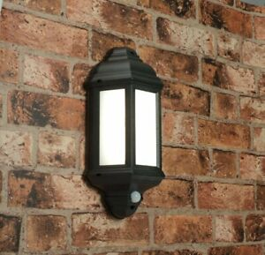 HALBURY Outdoor LED Wall Light - PIR Motion Sensor Black Lantern Waterproof IP44