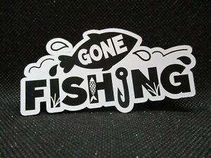 7 PRINTED GONE FISHING DIE CUTS...BLACK, CRUMB CAKE, GREY.....CARDMAKING