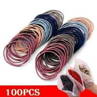100Pcs/Bag Womens Elastic Rope Hair Ties Ponytail Holder Rubber Band Hairband AU