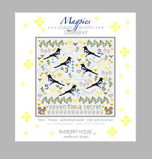 MAGPIES Seven for a Secret COUNTED CROSS STITCH KIT by RIVERDRIFT HOUSE