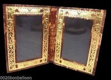 Egyptian hand made Double Picture Frame Genuine Leather handcrafted ethnic
