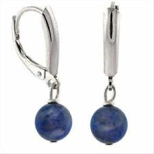 925 Silver Sodalite Bead Lever-Back Earrings