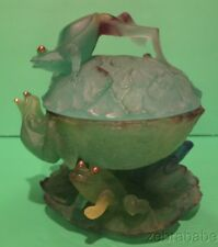 Daum Art Glass Frogs on Lily Pad Pate de verre Bowl