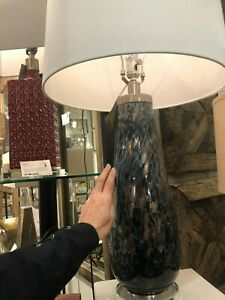 "MARCHIAZZA MODERN 32"" MOTTLED GLASS TABLE BUFFET LAMP CRYSTAL BASE UTTERMOST"