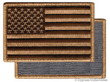 AMERICAN FLAG BIKER PATCH BROWN RIGHT embroidered USA w/ VELCRO® Brand Fastener