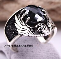 Turkish 925 Sterling Silver EAGLE Black Onyx Stone Mens man ring ALL SİZE us 027