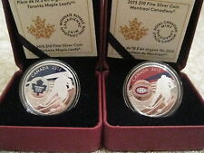 2015 $10 Montreal Canadiens and $10 Toronto Maple Leafs Silver coins