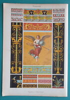 POMPEII Herculanum Wall Paintings Figure of Victory - 1890s Color Litho Print