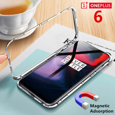 Magnetic Adsorption Tempered Glass Metal Case For OnePlus 6 Six A6000 Free Film
