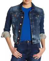$378 Diesel Women's Fringe-NE Denim Jacket JoggJeans Division Size XXS