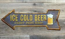 'Ice Cold Beer' Arrow Shape Sign Vintage Retro Style 43cm Tin Bar Style