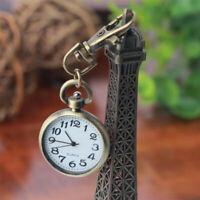 Retro Bronze Quartz Movement Key chain Keyring Watch Pocket Watch Round Dial