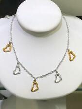Two Tone Gold Sterling Silver Dangling Heart Chandelier Design Necklace Gift