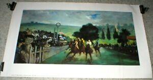 Horse Racing - RACES AT LONGCHAMPS Art Print 1800's - by Edouard Manet -Unframed