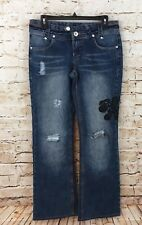 Ecko Red jeans womens/juniors 7 destroyed embellished logo boot cut stretch D2