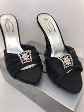 "Size 7 UK. Womens Satin Look Diamante 5"" Heel Shoes."