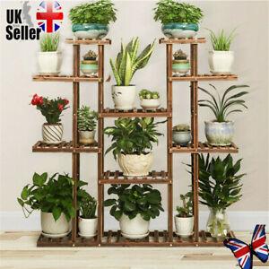 9 Tier Indoor Outdoor Flower Rack Wood Plant Stand Pots Bonsai Display Shelf  UK