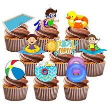 Swimming Kids Pool Party Pack 36 Edible Cup Cake Toppers Birthday Decorations