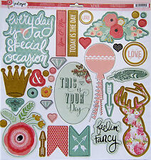 """My Mind's Eye """"Just Sayin""""   12 x 12 Chipboard Elements with glitter accents"""