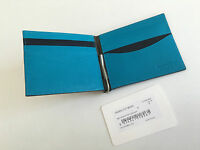 Paul Smith WALLET MONEY CLIP 8x Credit Card Full Size Bi-fold Taupe & Blue