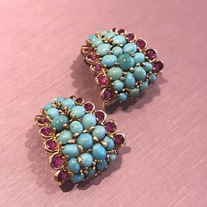 Vintage Ruby and Turquoise Earrings in 18k Yellow Gold -- HM1216I