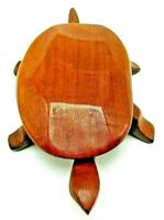 Vintage Mid Century Hand Crafted Wooden Turtle Lidded Trinket Box Folk Art