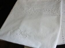 Pr Vintage/Antique FRENCH SQUARE PILLOWCASE/SHAMS White on White Embroidered