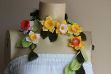 Crochet Lariat Scarf-Flower Scarf-Jewelry Scarf-Yellow,White Daffodil Scarf