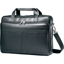 "Samsonite Leather Slim Briefcase w/ 15.6"" Laptop Pocket in Black"
