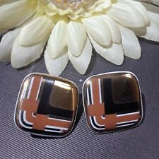 Vintage Lucite Clip On Earring Retro 80s Square Plaid Black Brown White Gold