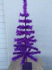 "30in PURPLE CHRISTMAS FEATHER TREE TINSEL TABLETOP CENTERPIECE 30"" TREE"
