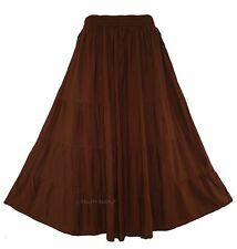 Brown Women BOHO Gypsy Long Maxi Tiered Skirt 3X 22