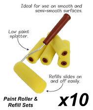 10 x 5 Piece Mini Paint Roller & Refill Sets - 10cm Wide Sponge Rollers