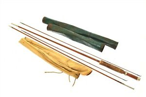 Vintage Union Hardware Fly Fishing Rod Sleeve and Green Metal Storage Case