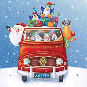 5 x Glitter Advent Calendar Novelty & Envelope Santa's Van XMAS JOB LOT
