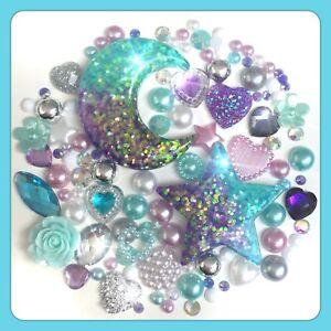 Glitter Moon & Stars Galaxy Theme Cabochon Gem & pearl flatbacks for decoden