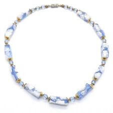 """OLD LIGHT BLUE MILLEFIORI VENETIAN GLASS BEAD NECKLACE KNOTTED STRAND 17 1/2"""" L"""