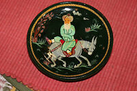 Vintage India Persian Middle Eastern Hand Painted Pottery Wall Plaque Man Donkey