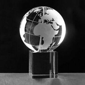 "High Quality Crystal Globe 3""  With Crystal Stand & Gift Box USA Seller!!"