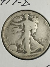 1919-D Silver Walking Liberty Half Dollar in about AG Condition
